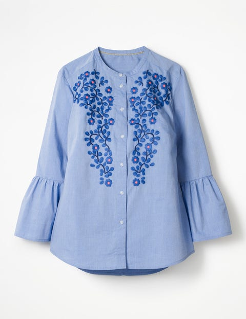 Embroidered Bell Sleeve Shirt - Chambray