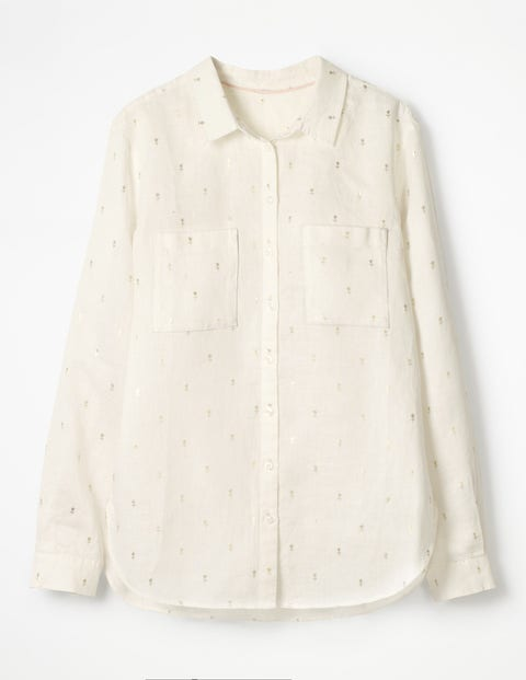 The Linen Shirt - Ivory Gold Rose Field Spaced