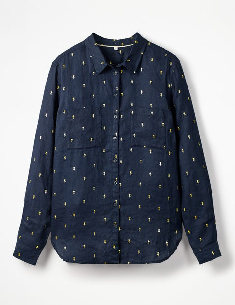 The Linen Shirt - Navy Gold, Rose Field Spaced