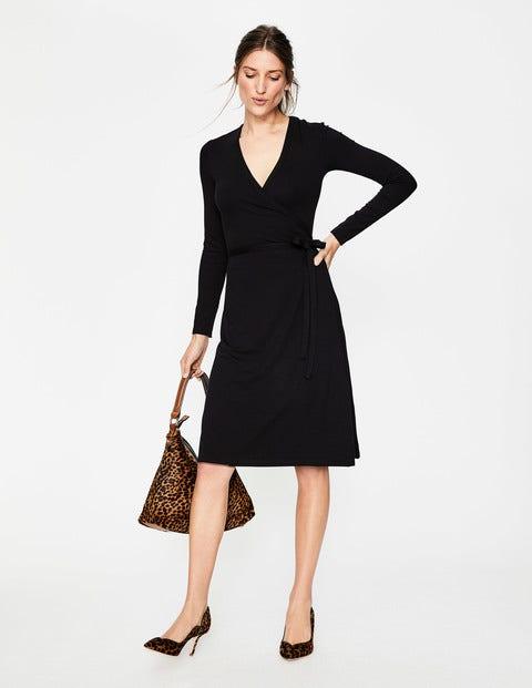 Wrap Jersey Dress - Black