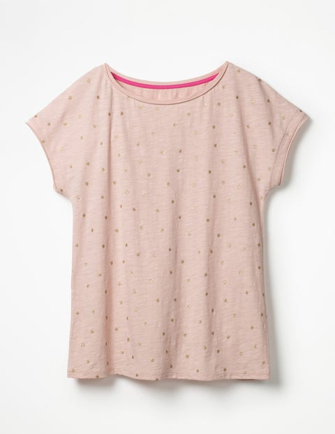 Natalie Jersey Tee - Pink Frosting/Gold