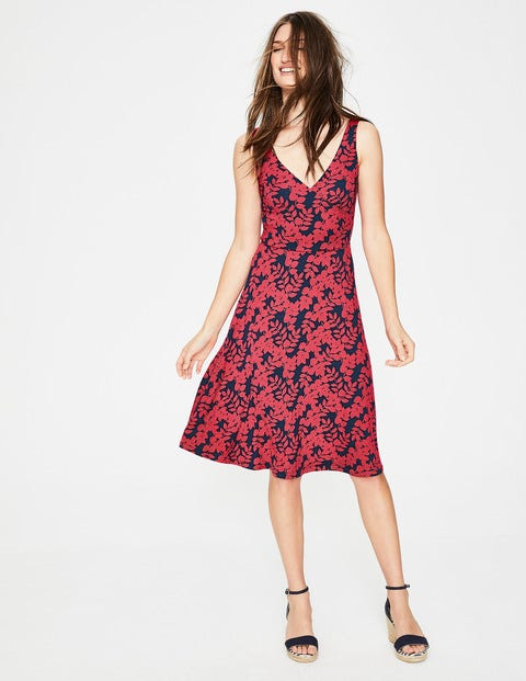 Willa Jersey Dress Coral Sunset Leaves Women Boden