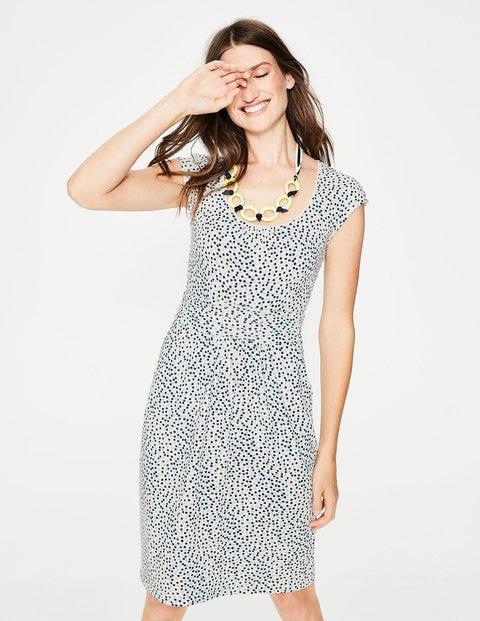 Margot Jersey Dress - Ivory Multi Spot