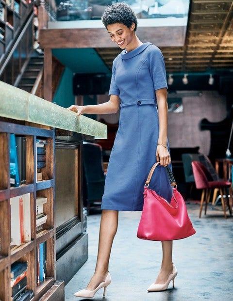 Betty Ottoman Dress - Soft Blue/Navy
