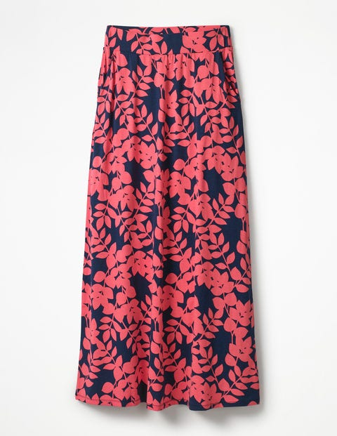Jersey Maxi Skirt - Coral Sunset Pink Leaves