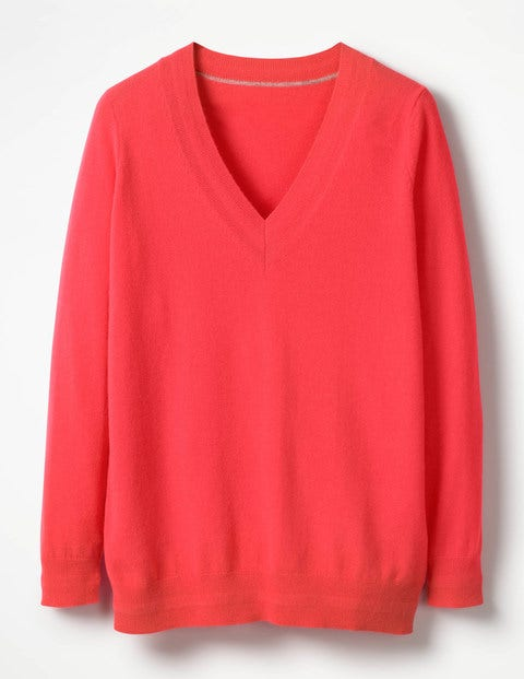 Cashmere Relaxed V-Neck Jumper - Bright Watermelon