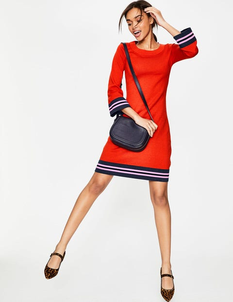 Trudy Knitted Dress - Red Pop