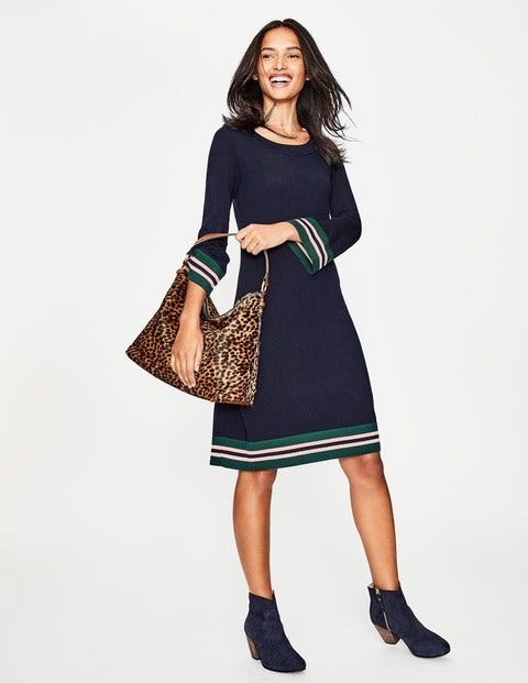 1960s Dresses: New 60s Style Dresses – Jackie O to Mod Trudy Knitted Dress Navy Women Boden Navy £78.40 AT vintagedancer.com