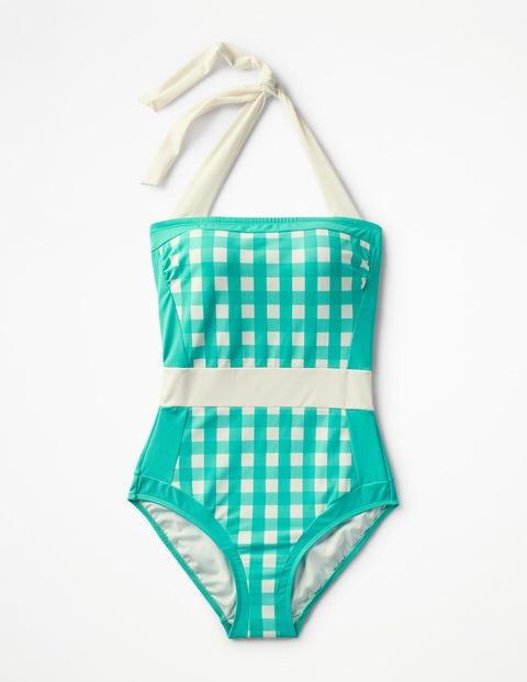 Santorini Swimsuit Patina Green Gingham Women Boden