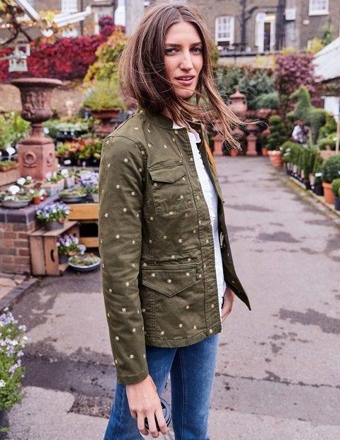 Carly Embroidered Jacket - Khaki