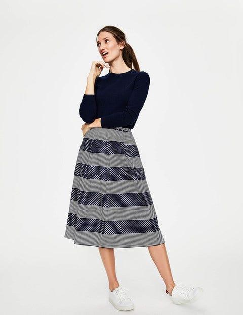 Lola Skirt - Navy, Spot Stripe