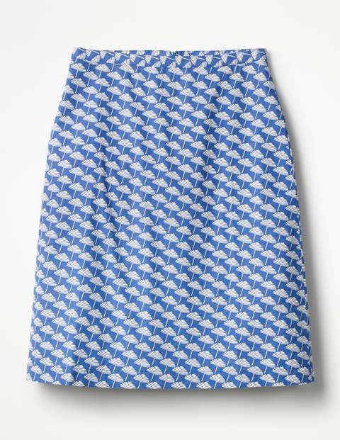 Printed Cotton A-Line Skirt - Lupine Blue, Parasol