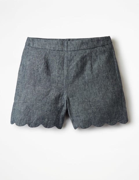 Miranda Scalloped Shorts - Navy