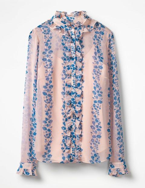 Kathleen Ruffle Shirt - Seashell Flowerbed