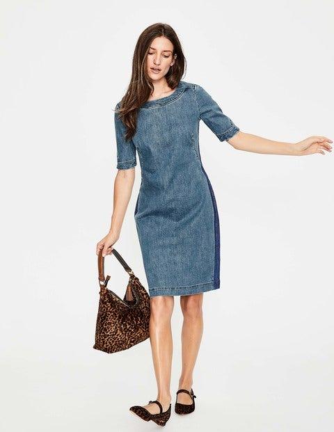 Rhea Denim Dress - Mid Vintage with Side Stripe