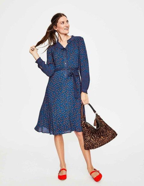 Melissa Ruffle Neck Dress - Riviera Blue Daisy