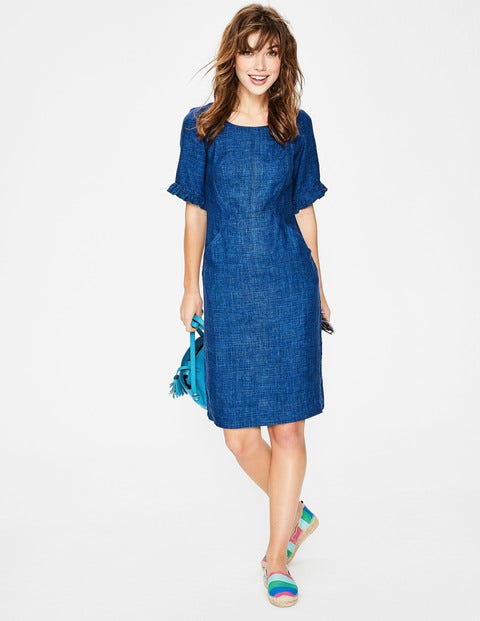 Addilyn Linen Dress Blue Women Boden, Blue