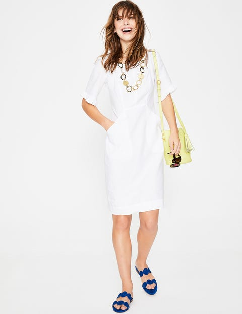 Addilyn Linen Dress White Women Boden, White