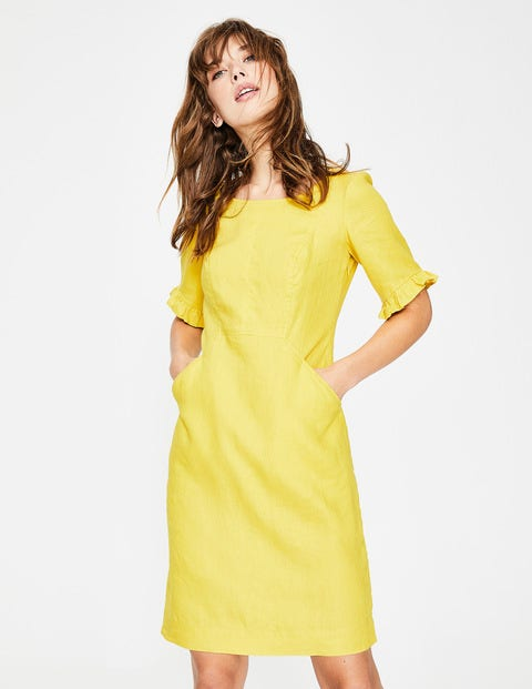 Addilyn Linen Dress Yellow Women Boden, Yellow
