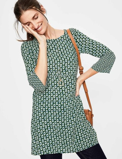 Edna Tunic - Hunter Green Cameo Floral