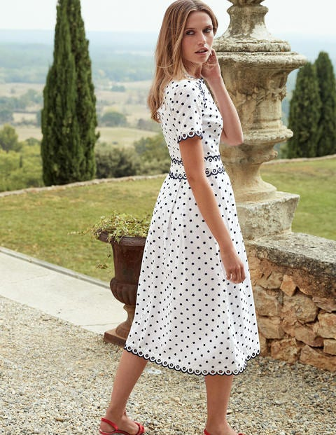 Kimberly Embroidered Dress - Ivory with French Navy Spot