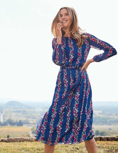 Kathleen Midi Dress - Opulent Blue Flowerbed