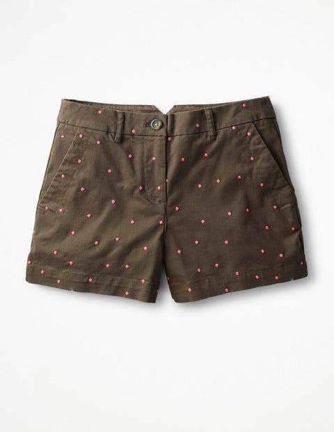 Rachel Chino Shorts - Khaki with Fluro Pink Spot