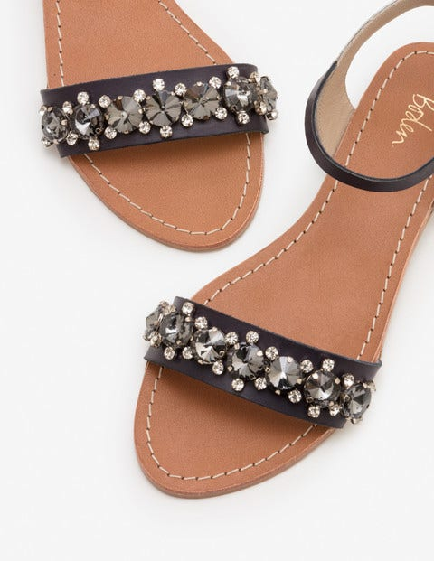 Marian Jewelled Sandals - Navy