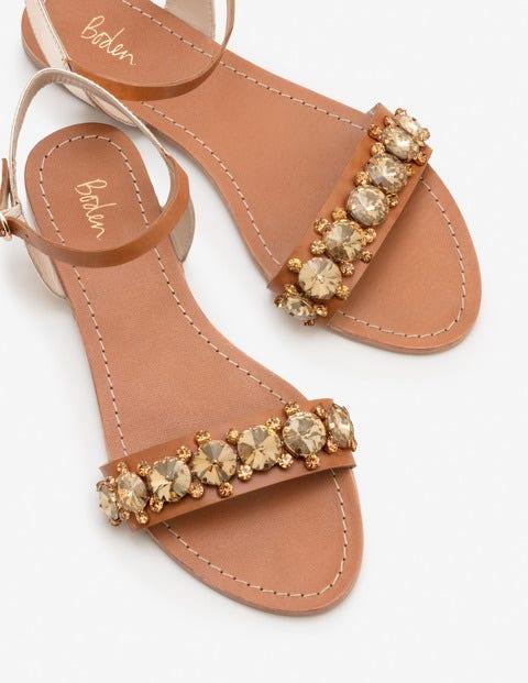 Marian Jewelled Sandals - Tan