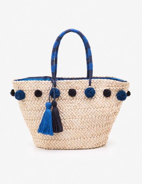 Pompom Beach Bag - China Blue