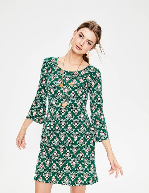 Miriam Jersey Tunic - Sap Green Floral Bouquet