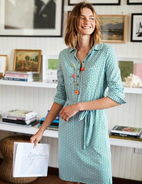 Jena Jersey Shirt Dress - Sap Green Floral Tile