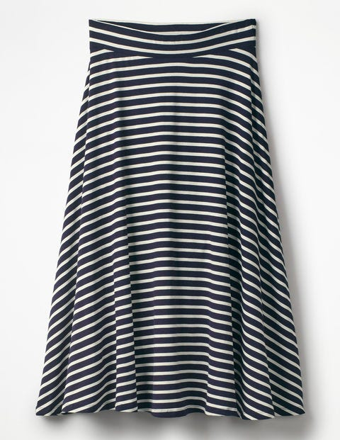 Jersey Midi Skirt - Navy/Ivory Stripe