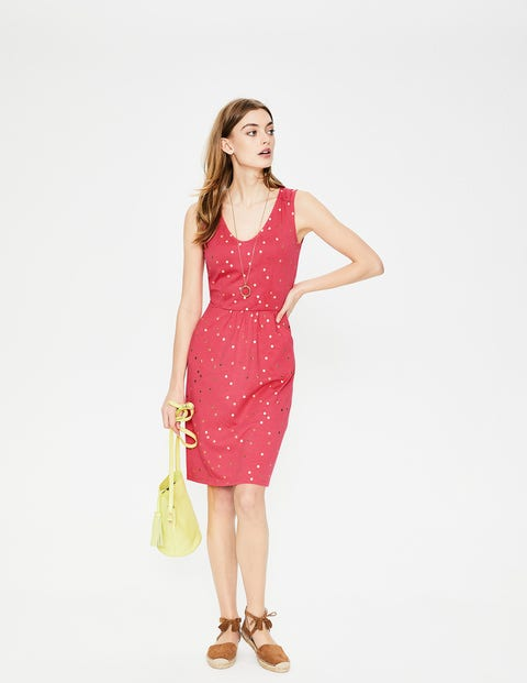 Melinda Jersey Dress - Coral Sunset Foil Spot