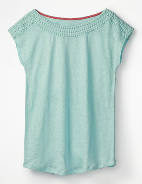 Linen Boatneck Jersey Top - Pale Icicle