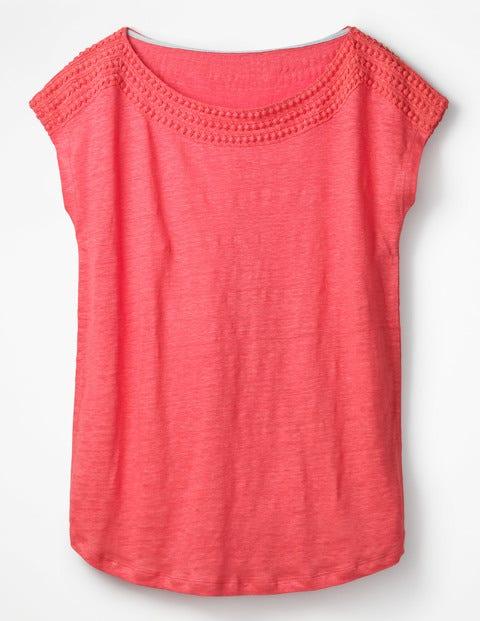 Leinen-Jerseyshirt Mit U-Boot-Ausschnitt - Korallenorange