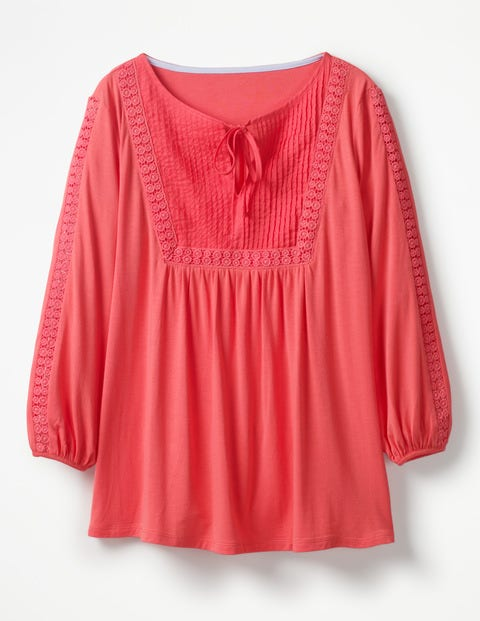 Anna Jersey Top - Coral Sunset