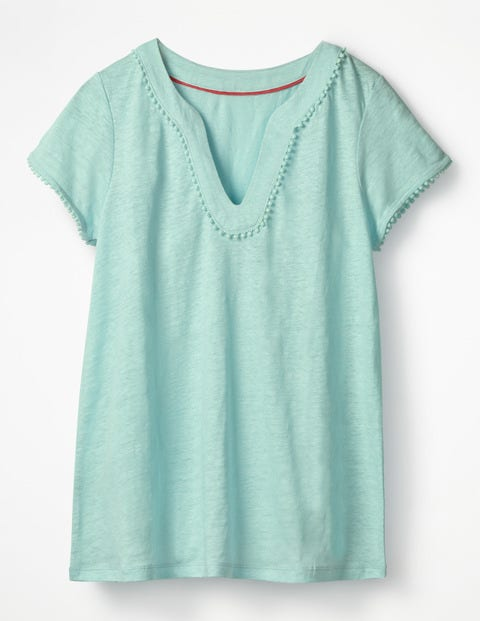 Linen Notch Neck Jersey Top - Pale Icicle