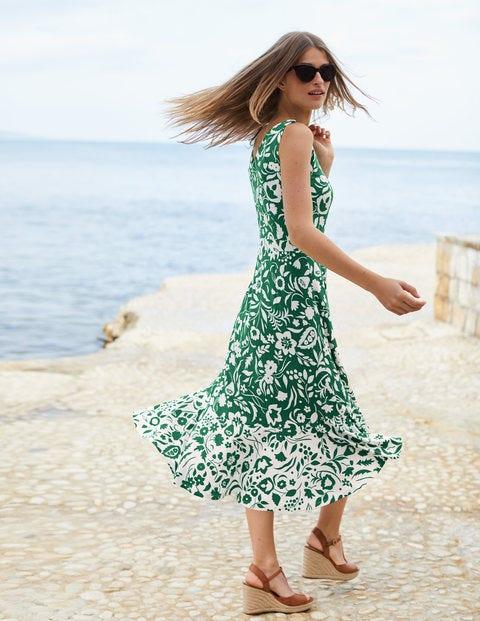 Elisa Jersey Dress - Sap Green Folk Mono Large