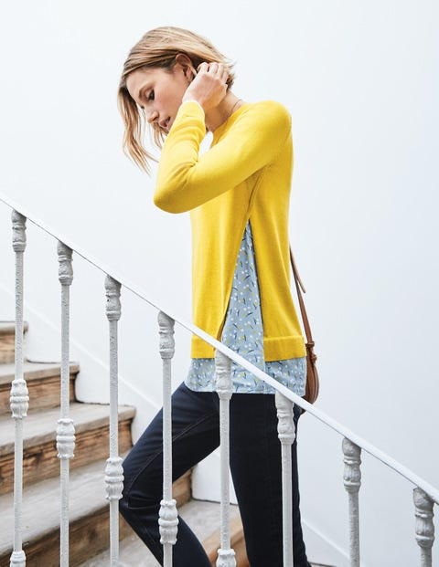 Mya Woven Mix Jumper - Mimosa Yellow