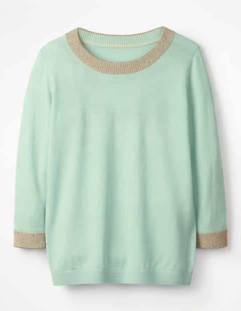 Sparkle Trim Knitted Jumper - Azure Mist