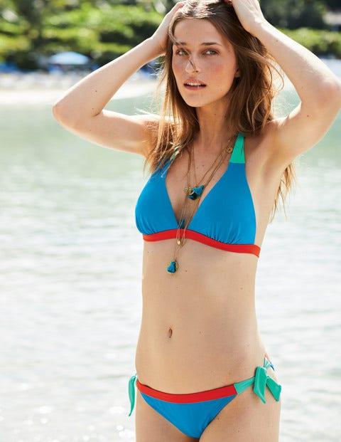 Contrast Tie Bikini Bottoms - Blue Gem Colourblock