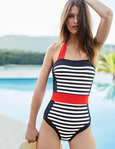 Santorini Swimsuit - Navy/Ivory Stripe