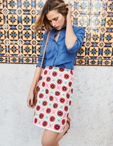 Fun Embroidered Skirt - Ivory Geo