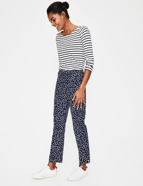 Richmond 7/8 Trousers - Navy Mimosa Yellow, Daisy