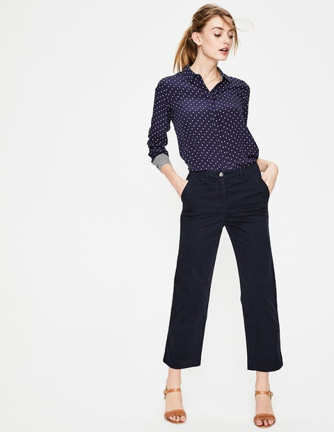 Rachel Wide Crop Chino Pants - Navy
