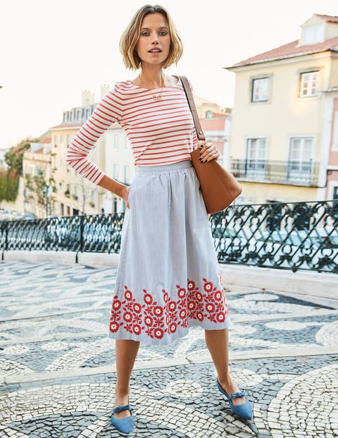 Haidee Embroidered Skirt - Blue and Ivory Stripe