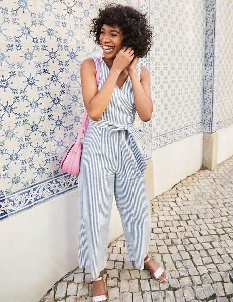 Wrap Jumpsuit - Chambray Blue/Ivory Stripe