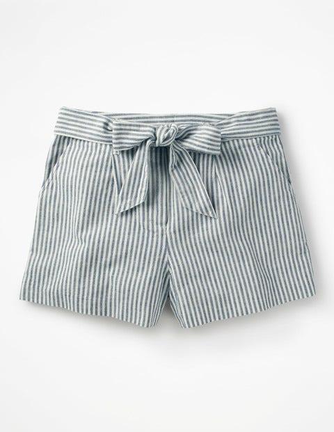 Cora Shorts - Chambray Blue/Ivory Stripe