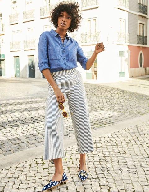 Wideleg Culottes - Chambray Blue/Ivory Stripe